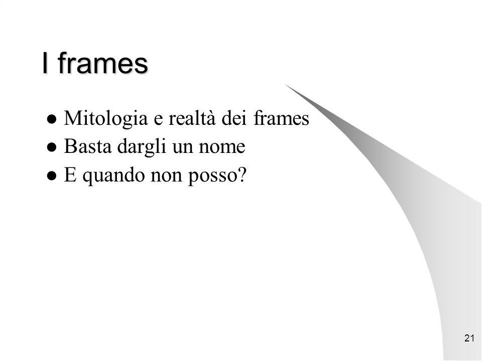 21 I frames Mitologia e realtà dei frames Basta dargli un nome E quando non posso