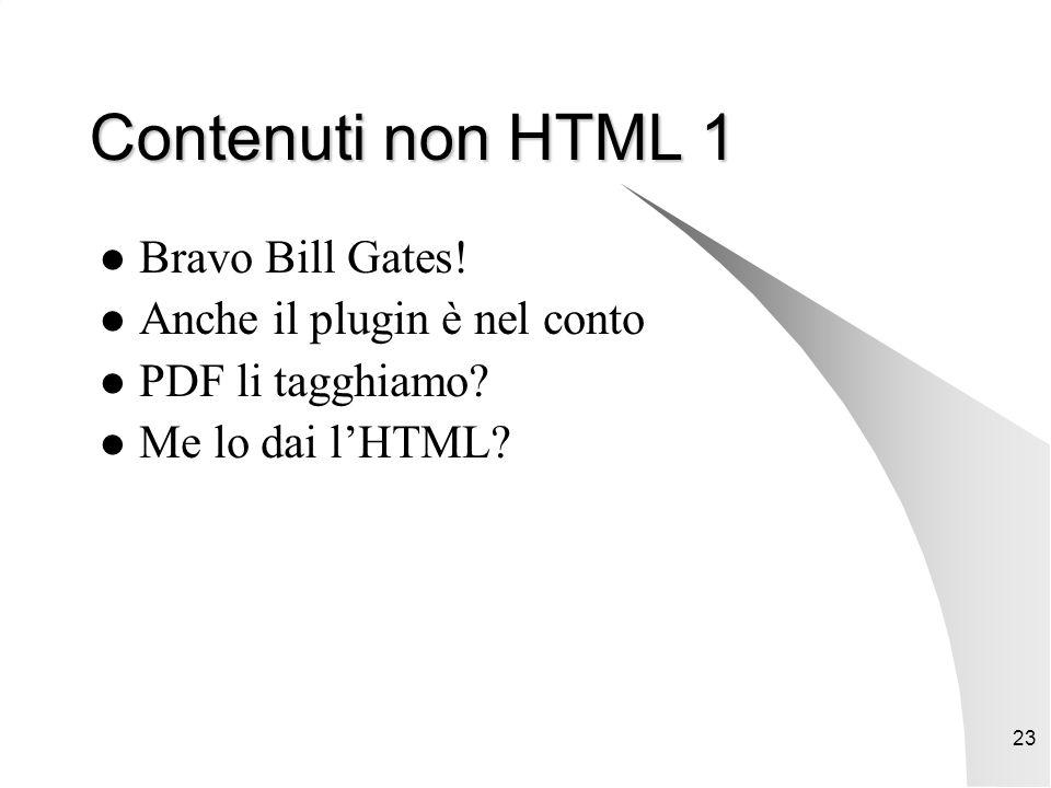 23 Contenuti non HTML 1 Bravo Bill Gates. Anche il plugin è nel conto PDF li tagghiamo.