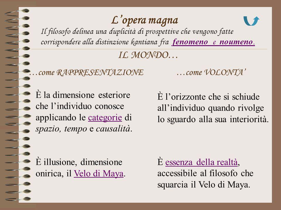 L'opera magna Il filosofo delinea una duplicità di prospettive che vengono fatte corrispondere alla distinzione kantiana fra fenomeno e noumeno.fenome