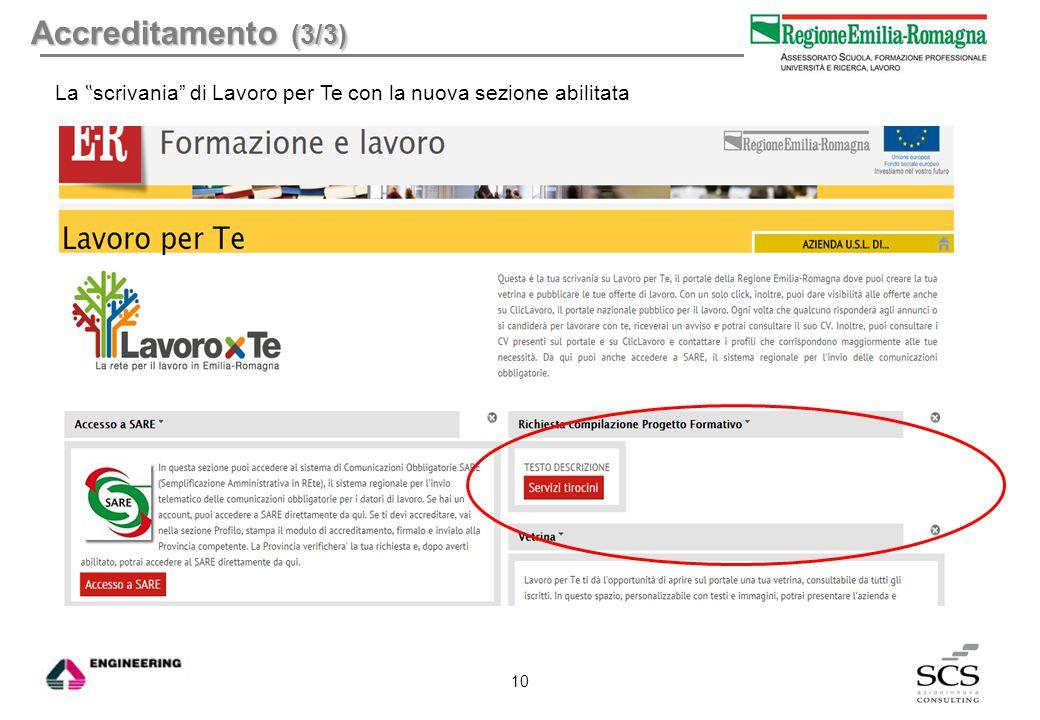 """Accreditamento (3/3) La """" scrivania"""" di Lavoro per Te con la nuova sezione abilitata 10"""