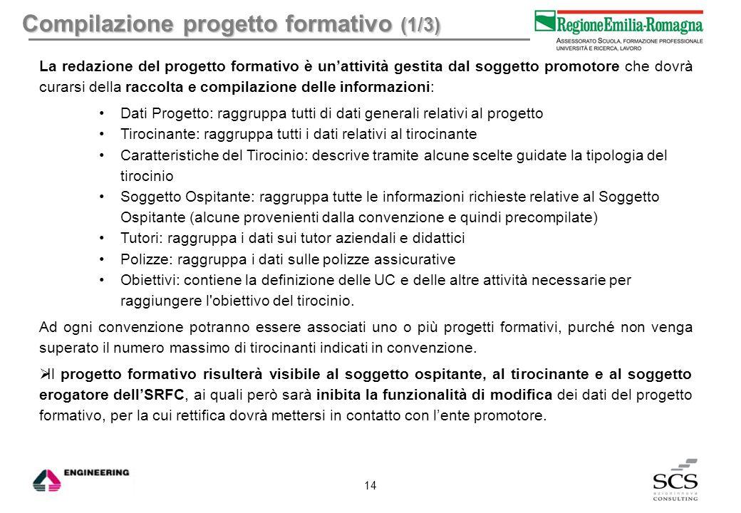 Compilazione progetto formativo (1/3) La redazione del progetto formativo è un'attività gestita dal soggetto promotore che dovrà curarsi della raccolt