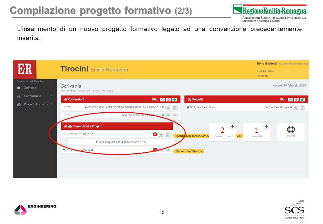 Compilazione progetto formativo (2/3) L'inserimento di un nuovo progetto formativo legato ad una convenzione precedentemente inserita. 15