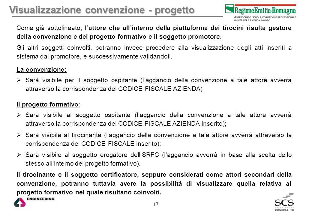 Visualizzazione convenzione - progetto Come già sottolineato, l'attore che all'interno della piattaforma dei tirocini risulta gestore della convenzion