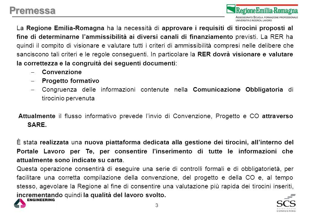 Premessa La Regione Emilia-Romagna ha la necessità di approvare i requisiti di tirocini proposti al fine di determinarne l'ammissibilità ai diversi ca