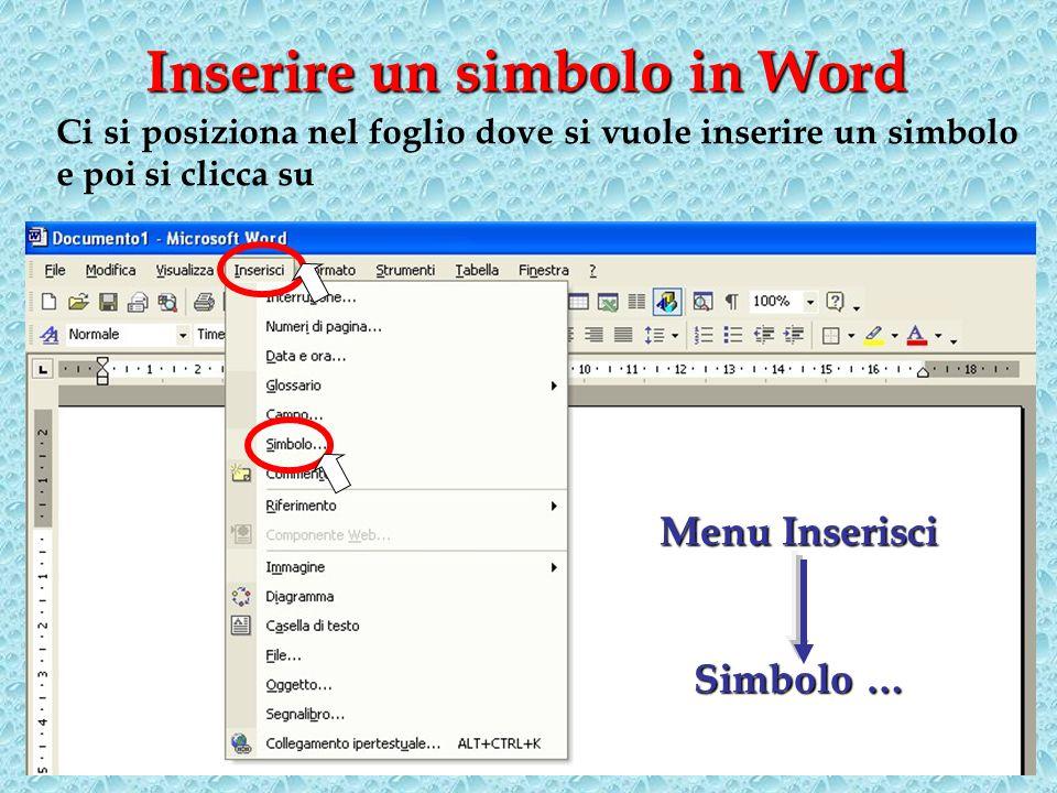 Inserire un simbolo in Word Menu Inserisci Simbolo … Ci si posiziona nel foglio dove si vuole inserire un simbolo e poi si clicca su