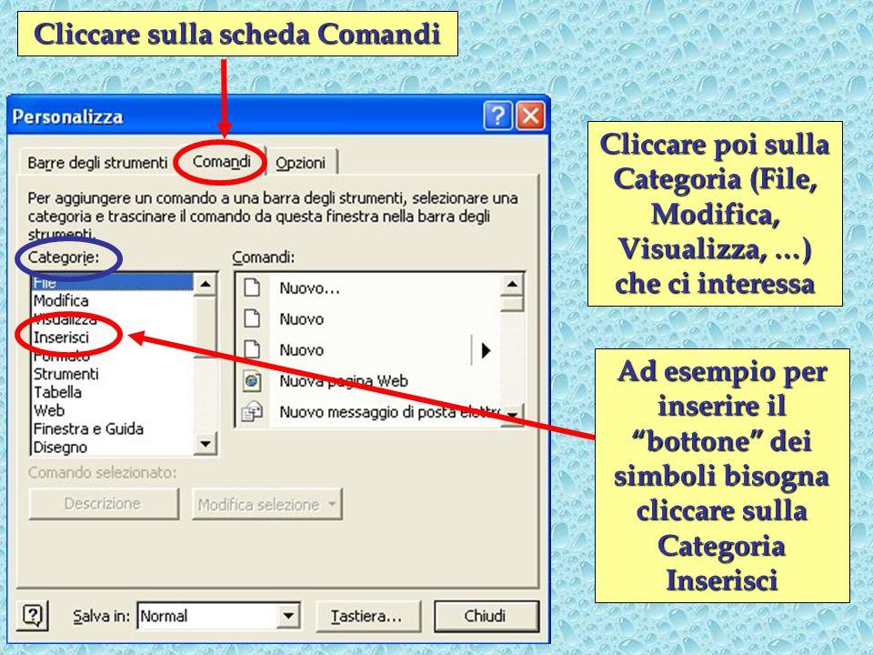 Cliccare sulla scheda Comandi Cliccare poi sulla Categoria (File, Modifica, Visualizza, …) che ci interessa Ad esempio per inserire il bottone dei simboli bisogna cliccare sulla Categoria Inserisci