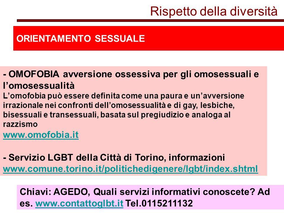 Rispetto della diversità ORIENTAMENTO SESSUALE - OMOFOBIA avversione ossessiva per gli omosessuali e l'omosessualità L'omofobia può essere definita come una paura e un'avversione irrazionale nei confronti dell'omosessualità e di gay, lesbiche, bisessuali e transessuali, basata sul pregiudizio e analoga al razzismo www.omofobia.it - Servizio LGBT della Città di Torino, informazioni www.comune.torino.it/politichedigenere/lgbt/index.shtml www.omofobia.it www.comune.torino.it/politichedigenere/lgbt/index.shtml Chiavi: AGEDO, Quali servizi informativi conoscete.