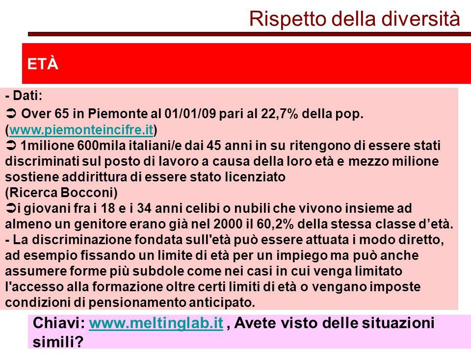 Rispetto della diversità ETÀ - Dati:  Over 65 in Piemonte al 01/01/09 pari al 22,7% della pop.