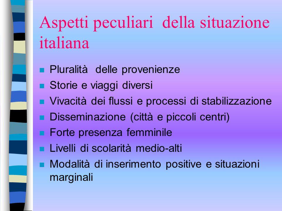 Aspetti peculiari della situazione italiana n Pluralità delle provenienze n Storie e viaggi diversi n Vivacità dei flussi e processi di stabilizzazion