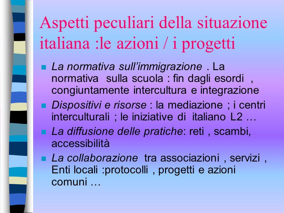 Aspetti peculiari della situazione italiana :le azioni / i progetti n La normativa sull'immigrazione. La normativa sulla scuola : fin dagli esordi, co