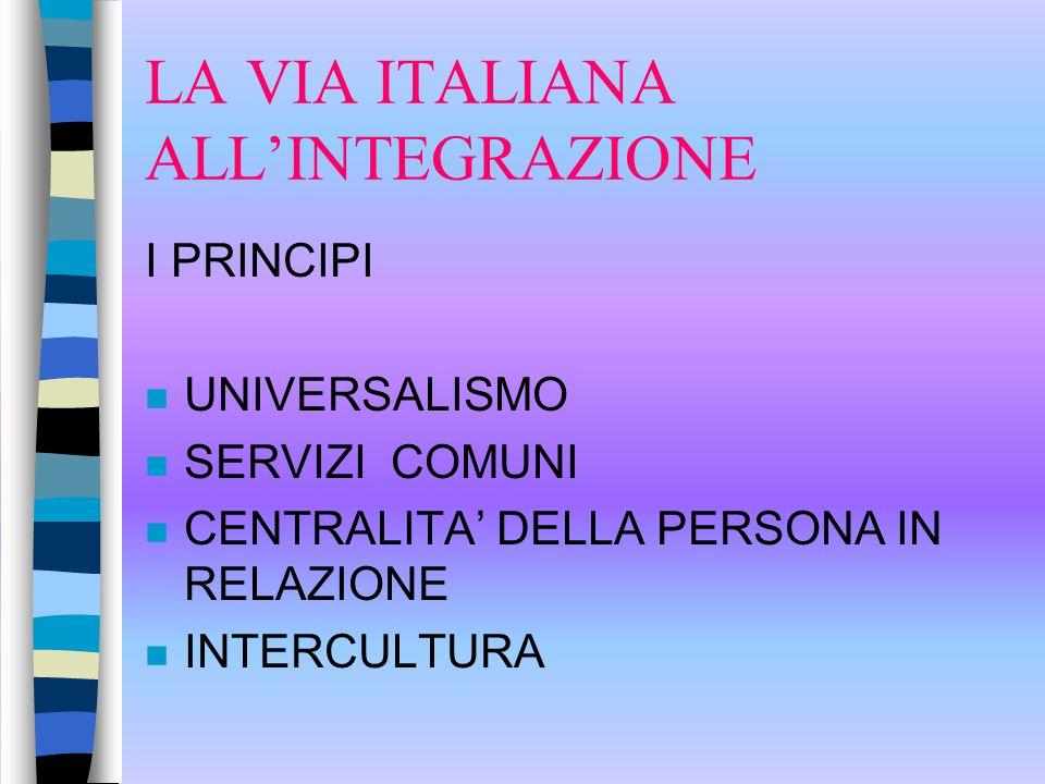 LA VIA ITALIANA ALL'INTEGRAZIONE I PRINCIPI n UNIVERSALISMO n SERVIZI COMUNI n CENTRALITA' DELLA PERSONA IN RELAZIONE n INTERCULTURA
