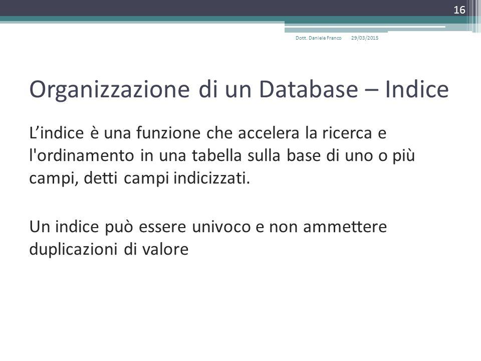 Organizzazione di un Database – Indice L'indice è una funzione che accelera la ricerca e l ordinamento in una tabella sulla base di uno o più campi, detti campi indicizzati.
