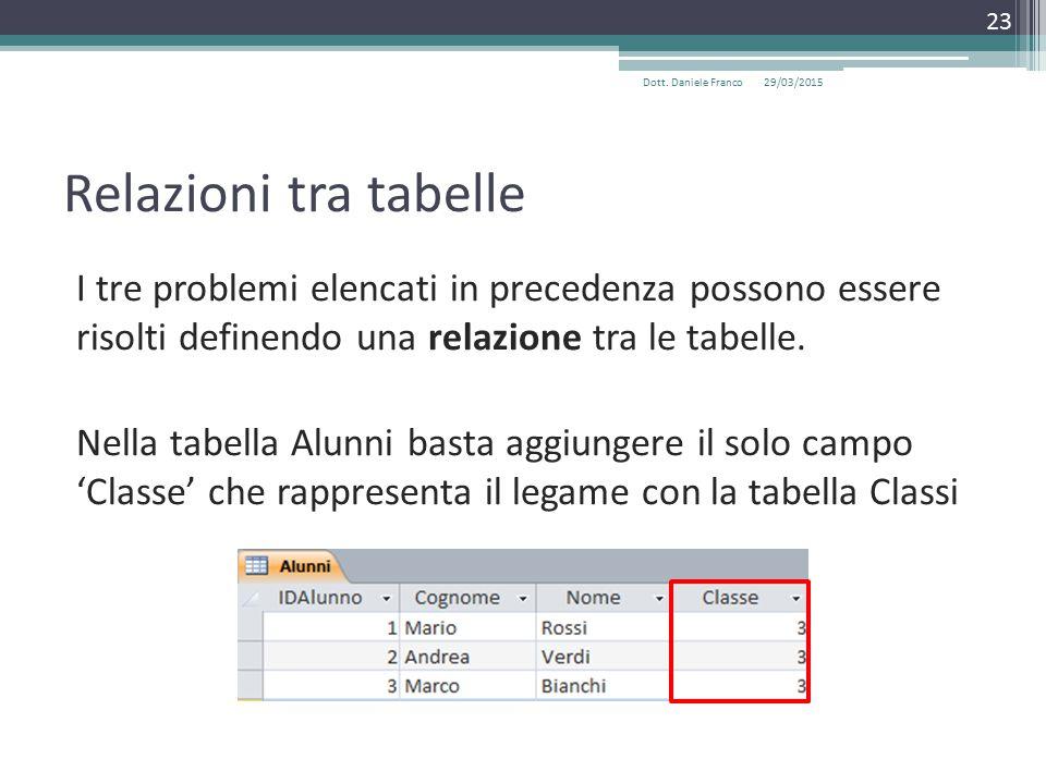Relazioni tra tabelle I tre problemi elencati in precedenza possono essere risolti definendo una relazione tra le tabelle.
