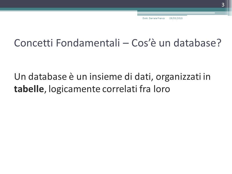 Concetti Fondamentali – Cos'è un database.