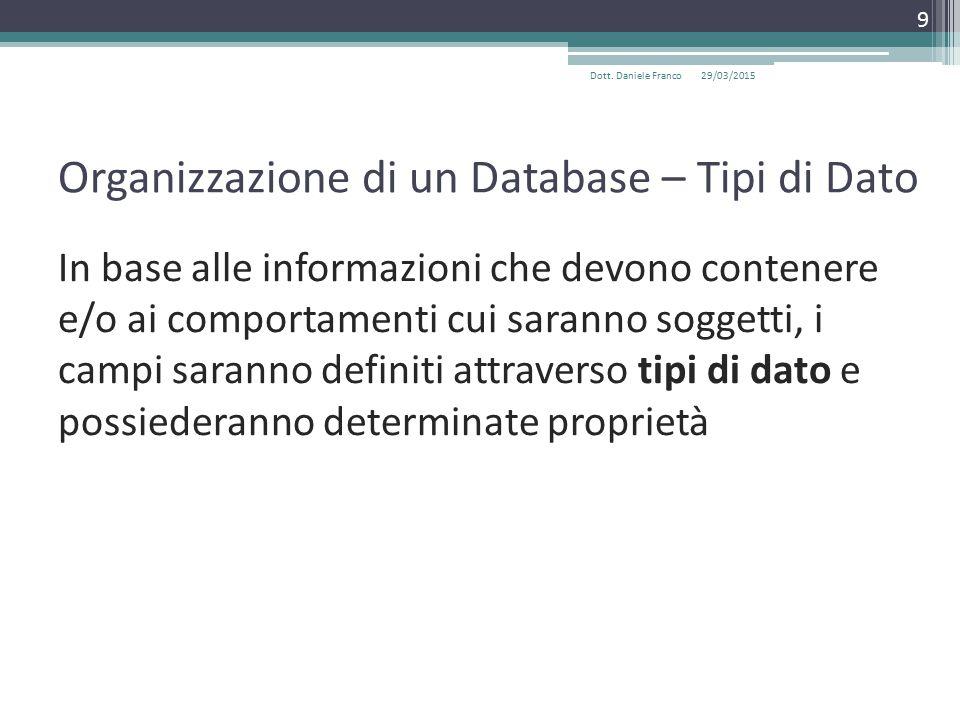 Organizzazione di un Database – Tipi di Dato In base alle informazioni che devono contenere e/o ai comportamenti cui saranno soggetti, i campi saranno definiti attraverso tipi di dato e possiederanno determinate proprietà 29/03/2015Dott.