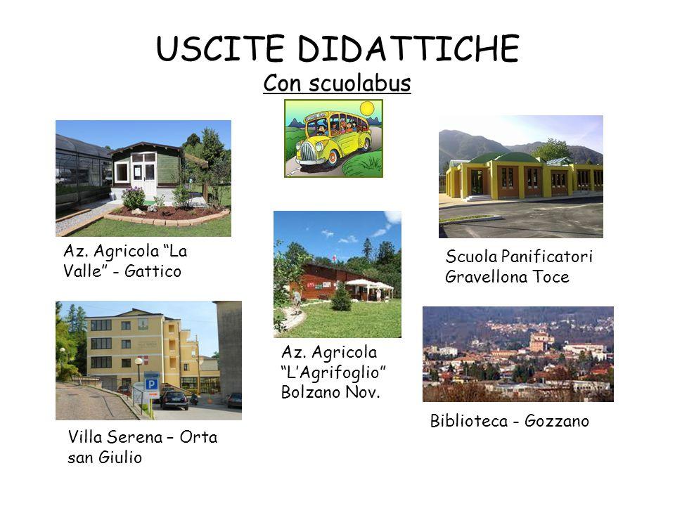 """USCITE DIDATTICHE Con scuolabus Az. Agricola """"La Valle"""" - Gattico Az. Agricola """"L'Agrifoglio"""" Bolzano Nov. Villa Serena – Orta san Giulio Scuola Panif"""