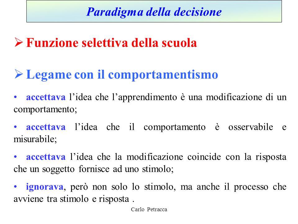 Carlo Petracca Paradigma della decisione  Funzione selettiva della scuola  Legame con il comportamentismo accettava l'idea che l'apprendimento è una