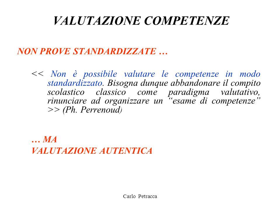VALUTAZIONE COMPETENZE NON PROVE STANDARDIZZATE … > (Ph. Perrenoud ) … MA VALUTAZIONE AUTENTICA Carlo Petracca