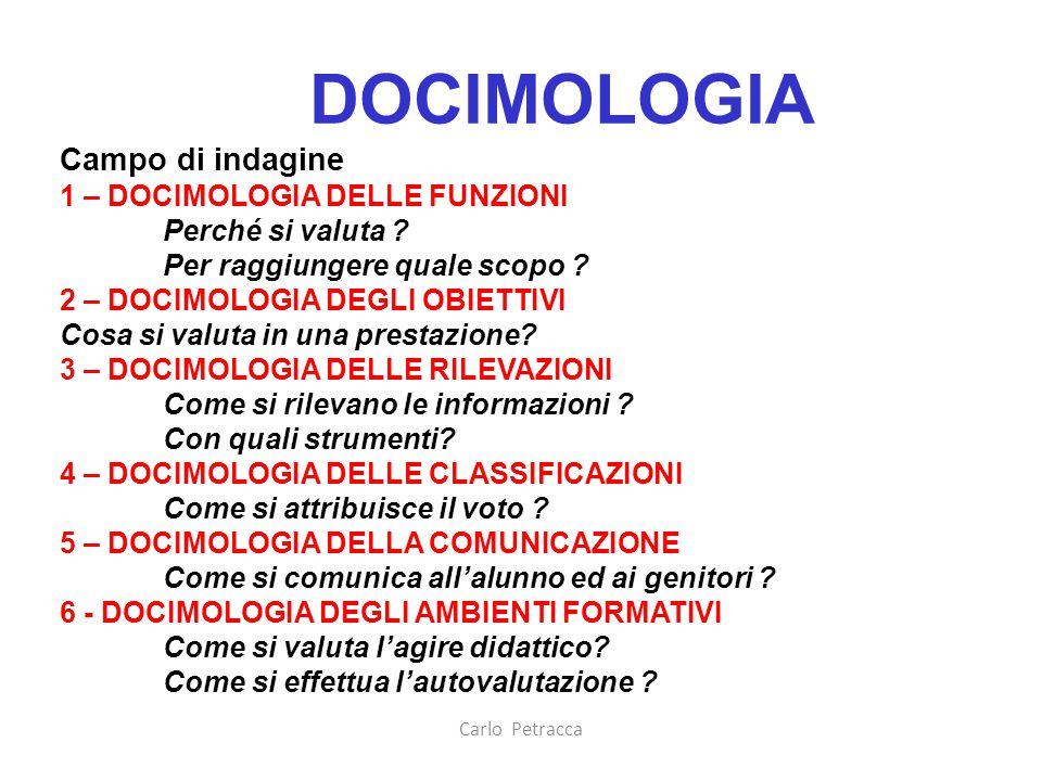 Carlo Petracca DOCIMOLOGIA Campo di indagine 1 – DOCIMOLOGIA DELLE FUNZIONI Perché si valuta ? Per raggiungere quale scopo ? 2 – DOCIMOLOGIA DEGLI OBI