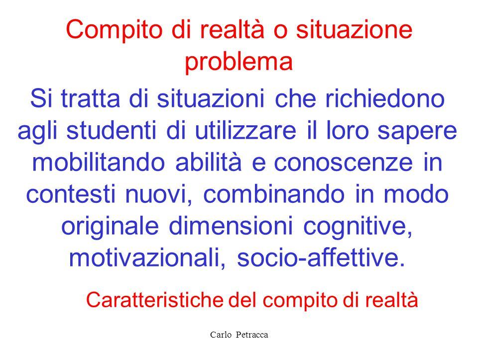 Compito di realtà o situazione problema Si tratta di situazioni che richiedono agli studenti di utilizzare il loro sapere mobilitando abilità e conosc