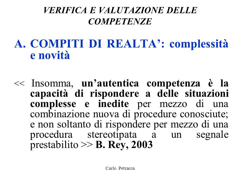VERIFICA E VALUTAZIONE DELLE COMPETENZE A.COMPITI DI REALTA': complessità e novità > B. Rey, 2003 Carlo Petracca