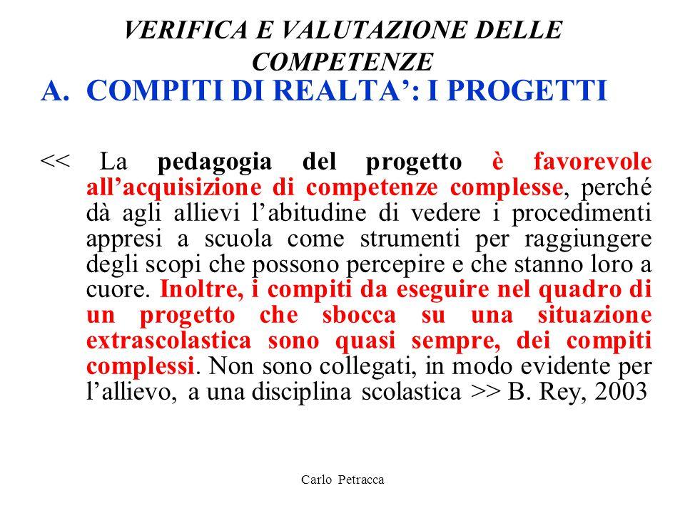 VERIFICA E VALUTAZIONE DELLE COMPETENZE A.COMPITI DI REALTA': I PROGETTI > B. Rey, 2003 Carlo Petracca