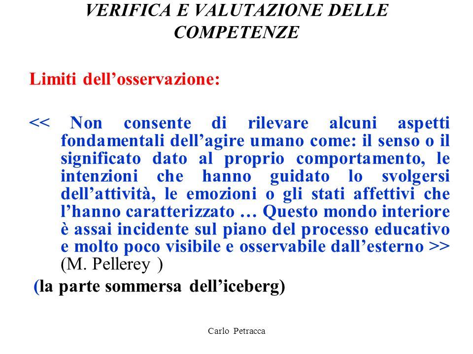 VERIFICA E VALUTAZIONE DELLE COMPETENZE Limiti dell'osservazione: > (M. Pellerey ) (la parte sommersa dell'iceberg) Carlo Petracca