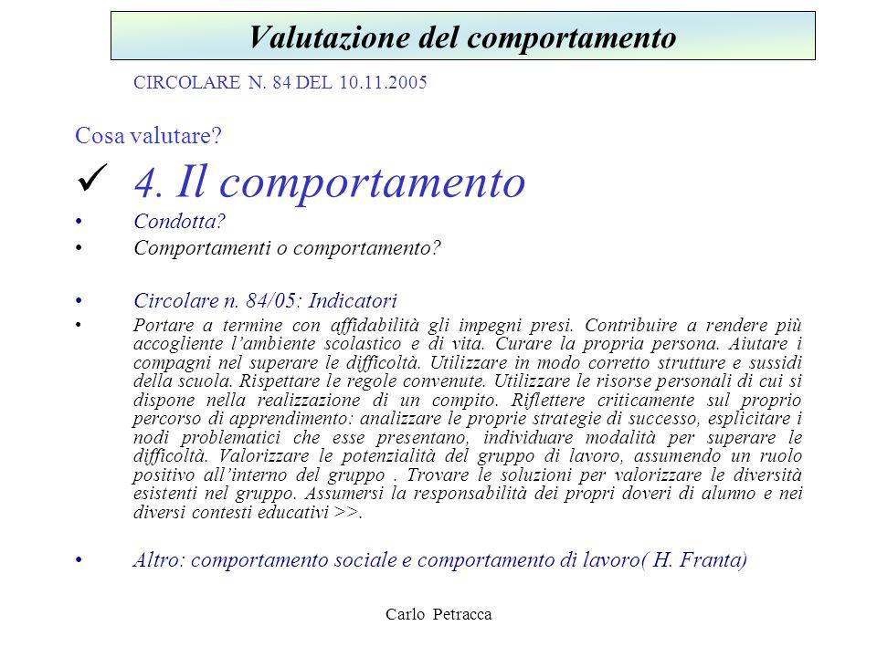 CIRCOLARE N. 84 DEL 10.11.2005 Cosa valutare? 4. Il comportamento Condotta? Comportamenti o comportamento? Circolare n. 84/05: Indicatori Portare a te