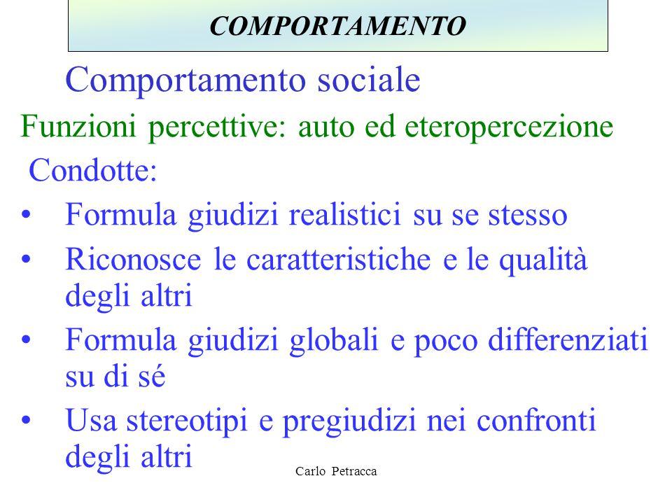 Comportamento sociale Funzioni percettive: auto ed eteropercezione Condotte: Formula giudizi realistici su se stesso Riconosce le caratteristiche e le