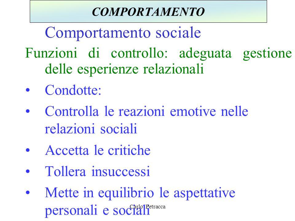 Comportamento sociale Funzioni di controllo: adeguata gestione delle esperienze relazionali Condotte: Controlla le reazioni emotive nelle relazioni so