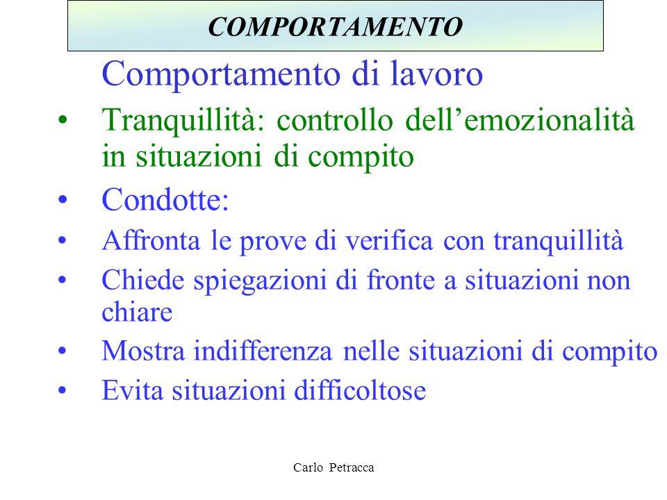 Comportamento di lavoro Tranquillità: controllo dell'emozionalità in situazioni di compito Condotte: Affronta le prove di verifica con tranquillità Ch