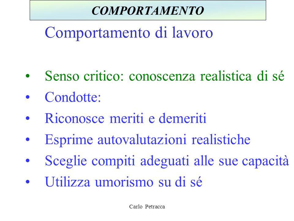 Comportamento di lavoro Senso critico: conoscenza realistica di sé Condotte: Riconosce meriti e demeriti Esprime autovalutazioni realistiche Sceglie c