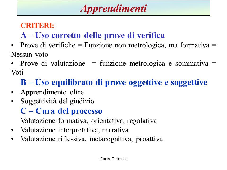 Apprendimenti CRITERI: A – Uso corretto delle prove di verifica Prove di verifiche = Funzione non metrologica, ma formativa = Nessun voto Prove di val