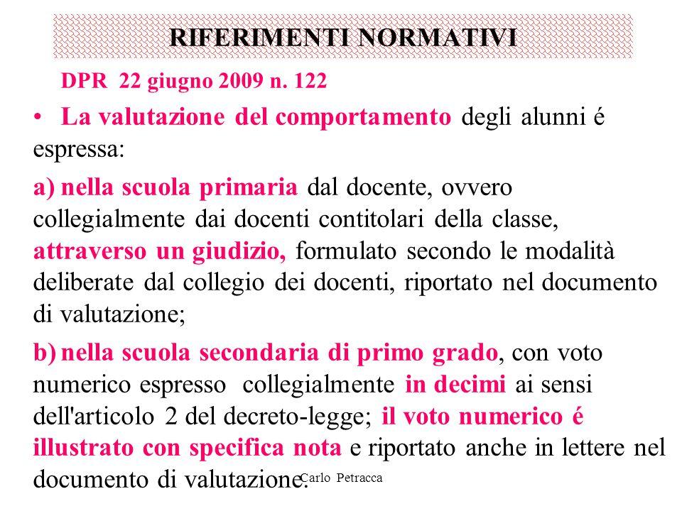 RIFERIMENTI NORMATIVI DPR 22 giugno 2009 n. 122 La valutazione del comportamento degli alunni é espressa: a)nella scuola primaria dal docente, ovvero