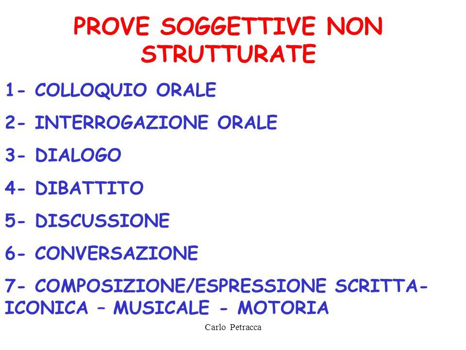 PROVE SOGGETTIVE NON STRUTTURATE 1- COLLOQUIO ORALE 2- INTERROGAZIONE ORALE 3- DIALOGO 4- DIBATTITO 5- DISCUSSIONE 6- CONVERSAZIONE 7- COMPOSIZIONE/ES