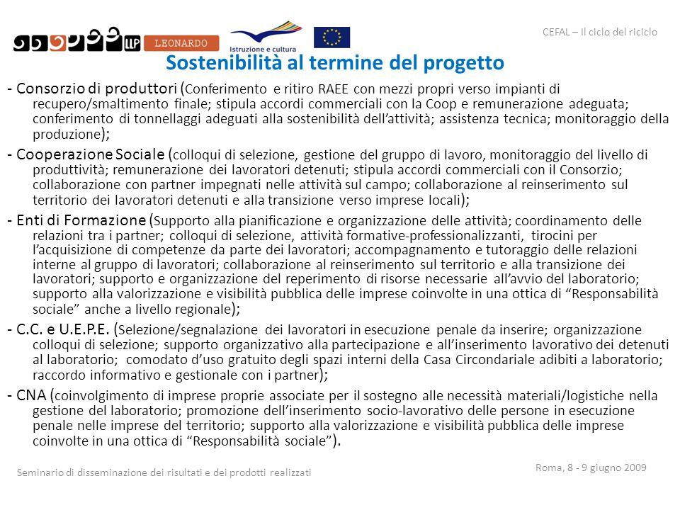 CEFAL – Il ciclo del riciclo Seminario di disseminazione dei risultati e dei prodotti realizzati Roma, 8 - 9 giugno 2009 Sostenibilità al termine del