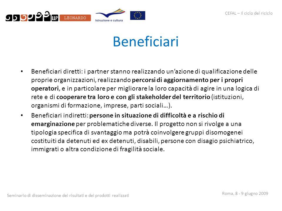 CEFAL – Il ciclo del riciclo Seminario di disseminazione dei risultati e dei prodotti realizzati Roma, 8 - 9 giugno 2009 Beneficiari Beneficiari diret