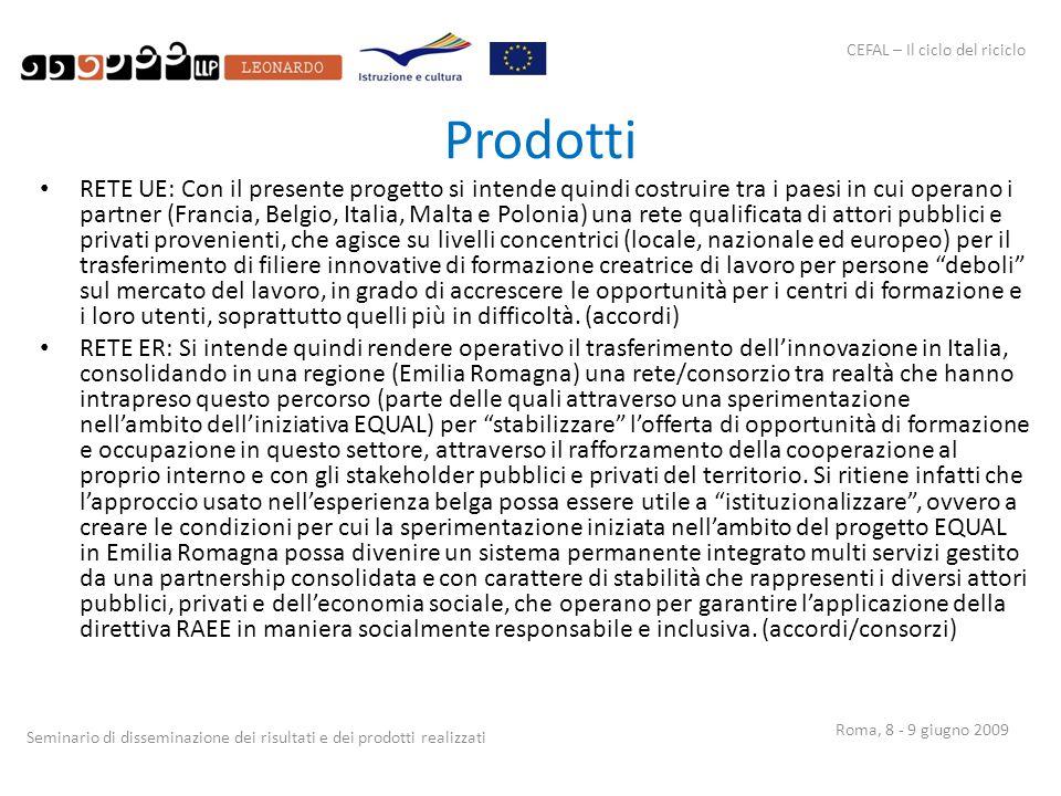 CEFAL – Il ciclo del riciclo Seminario di disseminazione dei risultati e dei prodotti realizzati Roma, 8 - 9 giugno 2009 Prodotti RETE UE: Con il pres