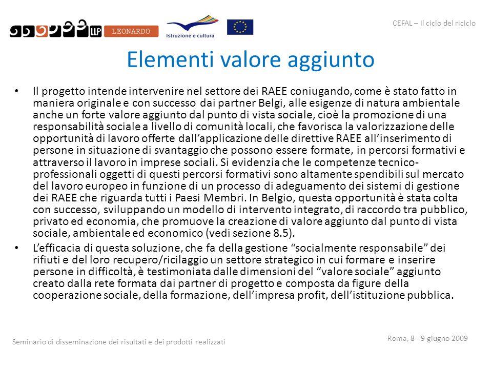 CEFAL – Il ciclo del riciclo Seminario di disseminazione dei risultati e dei prodotti realizzati Roma, 8 - 9 giugno 2009 Elementi valore aggiunto Il p