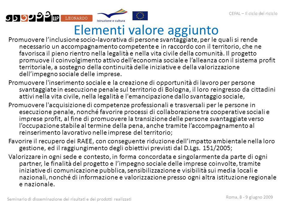 CEFAL – Il ciclo del riciclo Seminario di disseminazione dei risultati e dei prodotti realizzati Roma, 8 - 9 giugno 2009 Elementi valore aggiunto Prom
