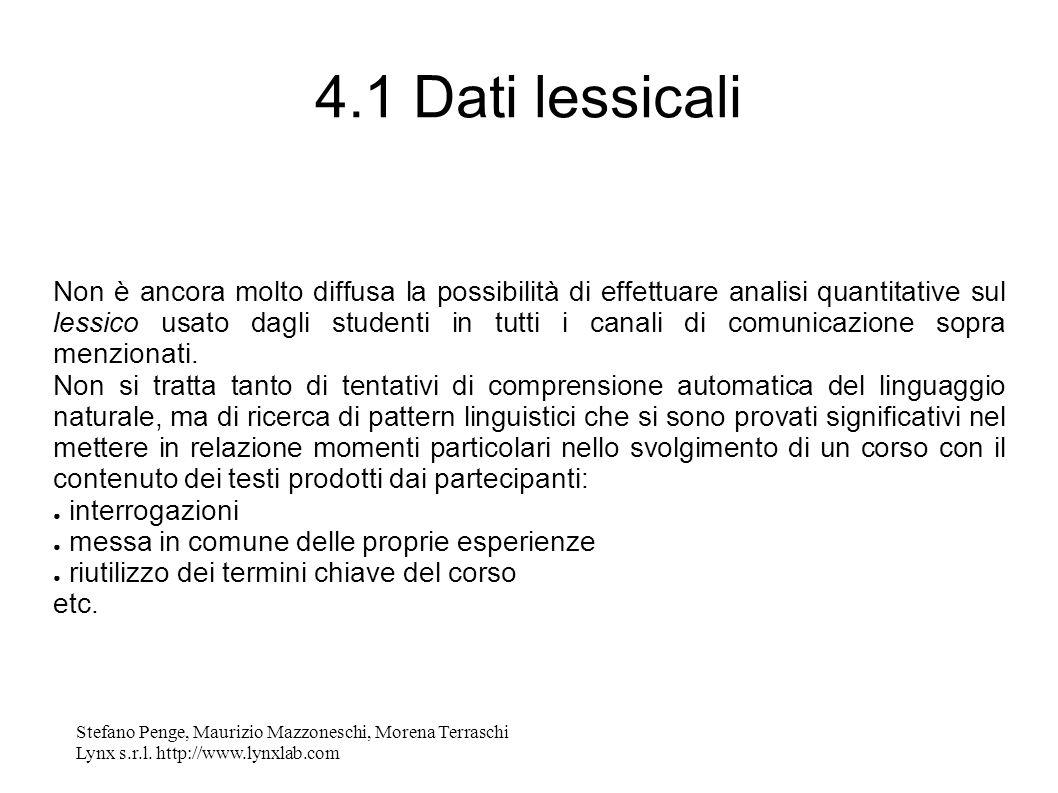 Stefano Penge, Maurizio Mazzoneschi, Morena Terraschi Lynx s.r.l. http://www.lynxlab.com 4.1 Dati lessicali Non è ancora molto diffusa la possibilità