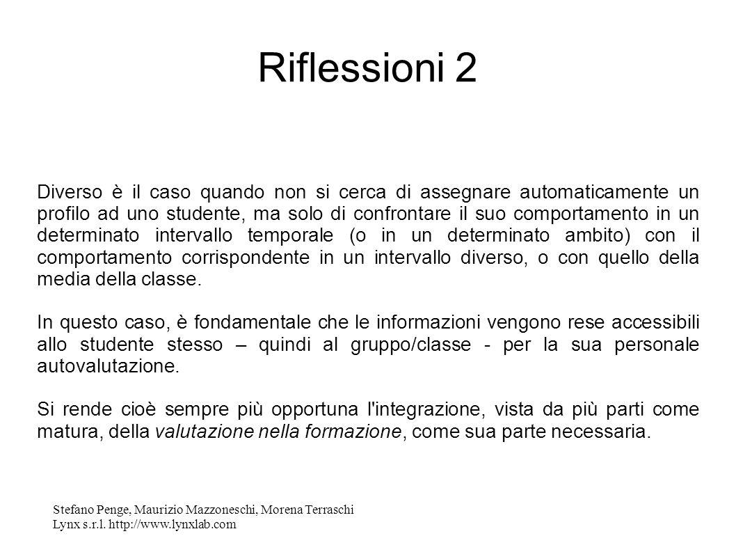 Stefano Penge, Maurizio Mazzoneschi, Morena Terraschi Lynx s.r.l. http://www.lynxlab.com Riflessioni 2 Diverso è il caso quando non si cerca di assegn