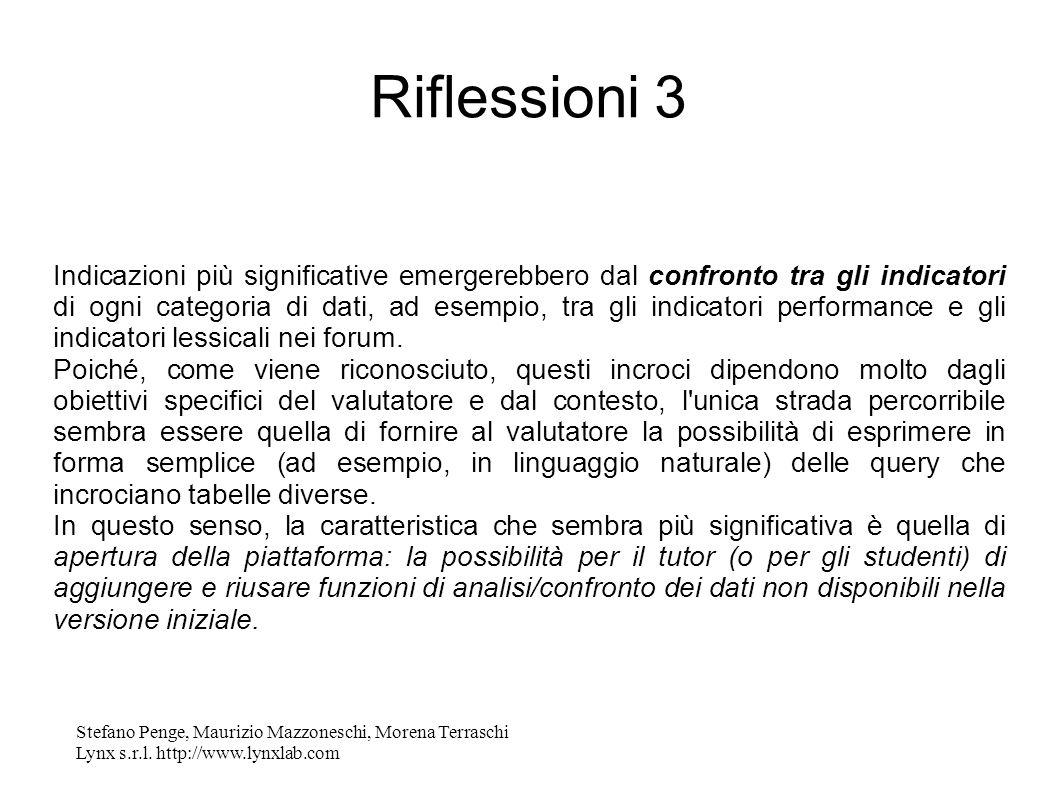 Stefano Penge, Maurizio Mazzoneschi, Morena Terraschi Lynx s.r.l. http://www.lynxlab.com Riflessioni 3 Indicazioni più significative emergerebbero dal