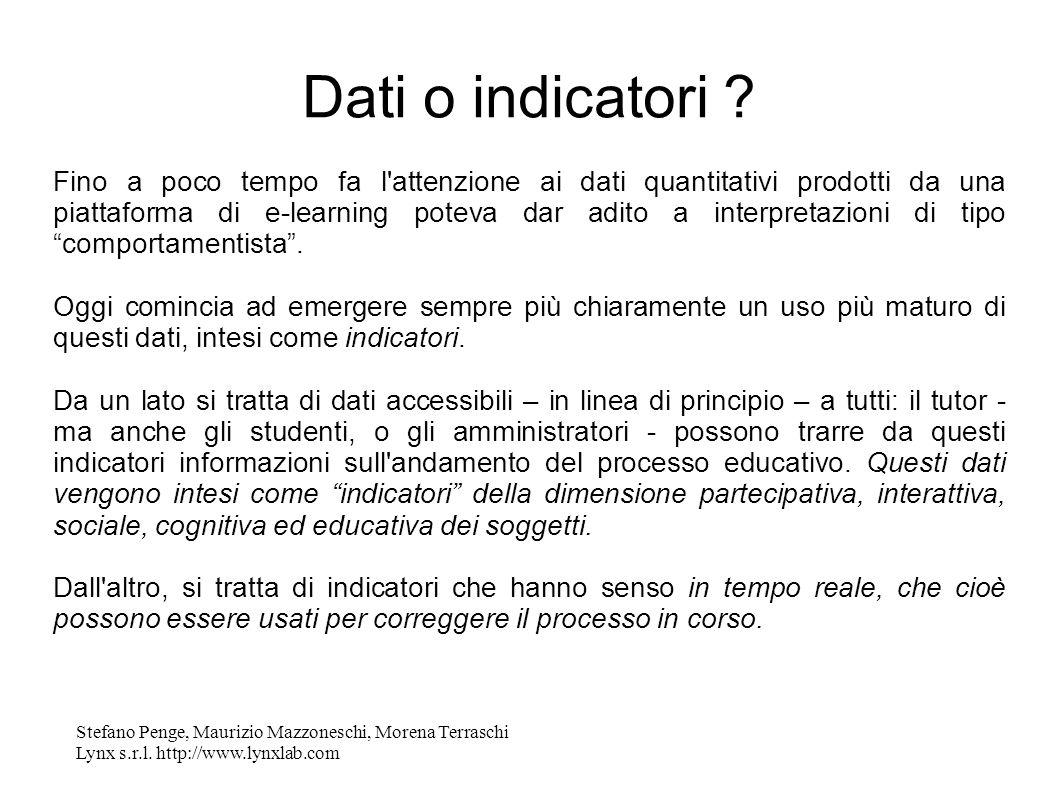 Stefano Penge, Maurizio Mazzoneschi, Morena Terraschi Lynx s.r.l. http://www.lynxlab.com Dati o indicatori ? Fino a poco tempo fa l'attenzione ai dati
