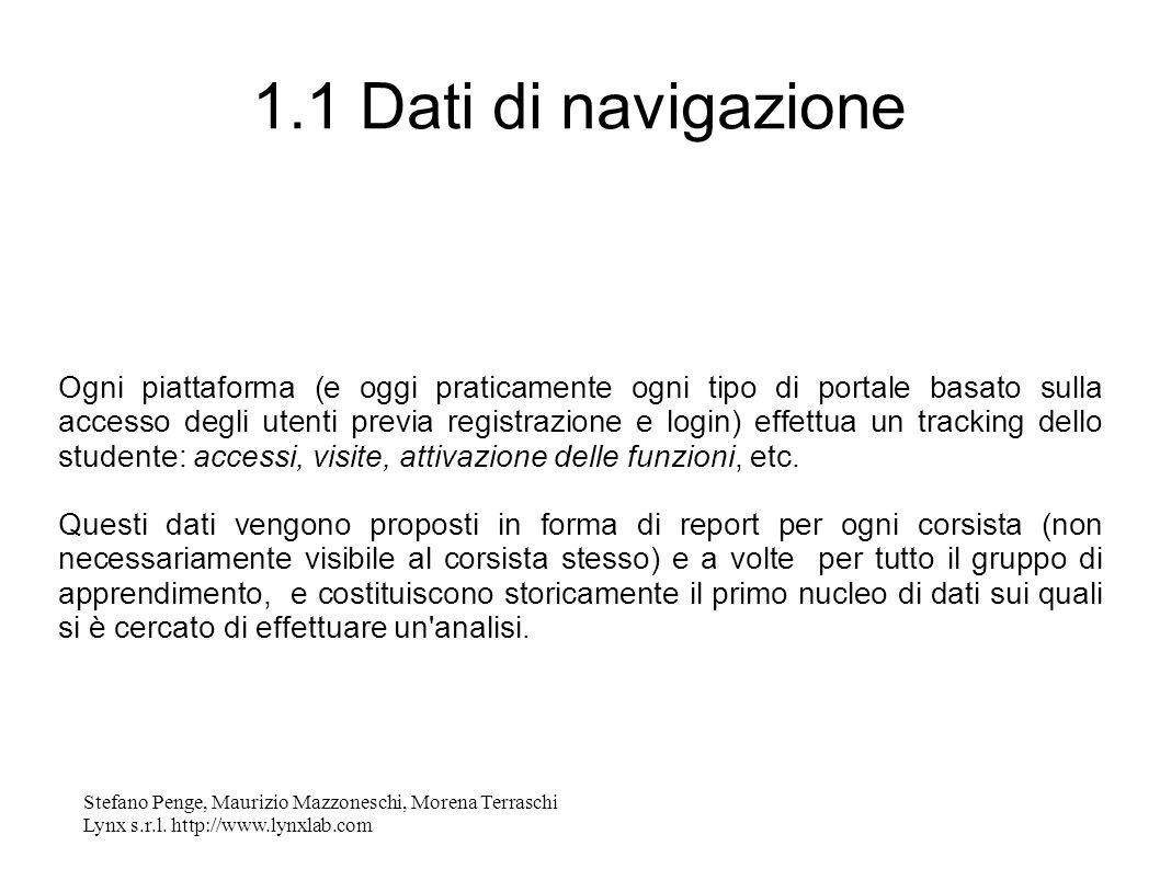 Stefano Penge, Maurizio Mazzoneschi, Morena Terraschi Lynx s.r.l. http://www.lynxlab.com 1.1 Dati di navigazione Ogni piattaforma (e oggi praticamente