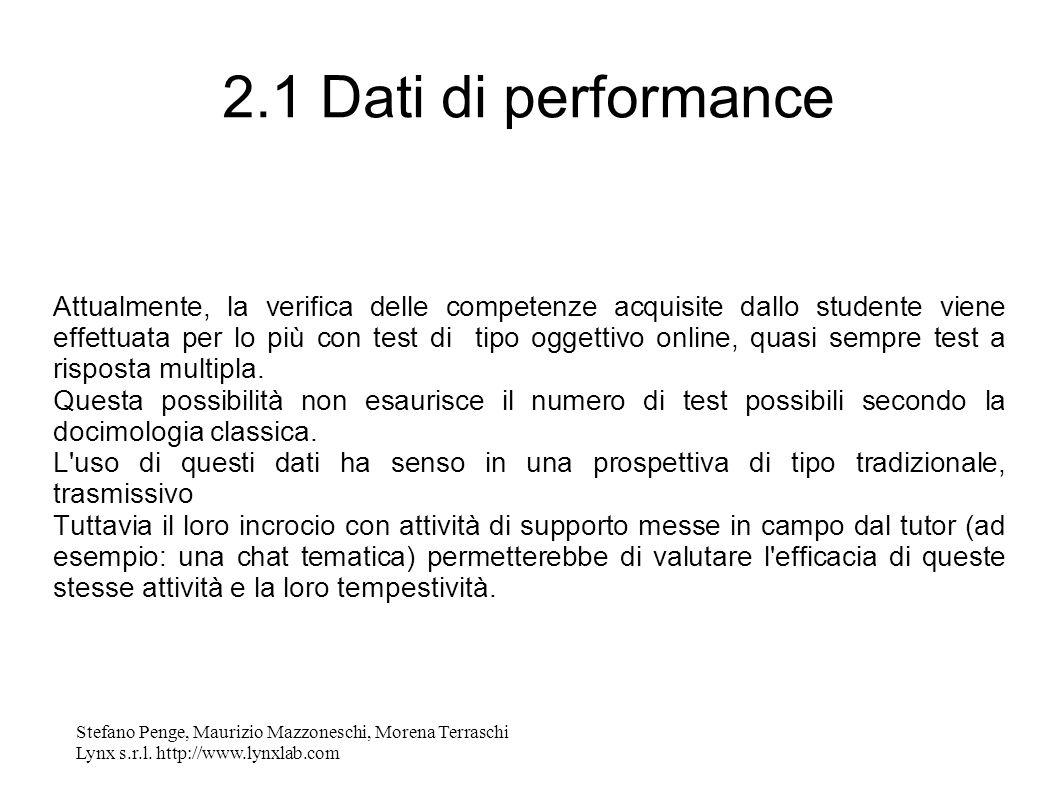 Stefano Penge, Maurizio Mazzoneschi, Morena Terraschi Lynx s.r.l. http://www.lynxlab.com 2.1 Dati di performance Attualmente, la verifica delle compet