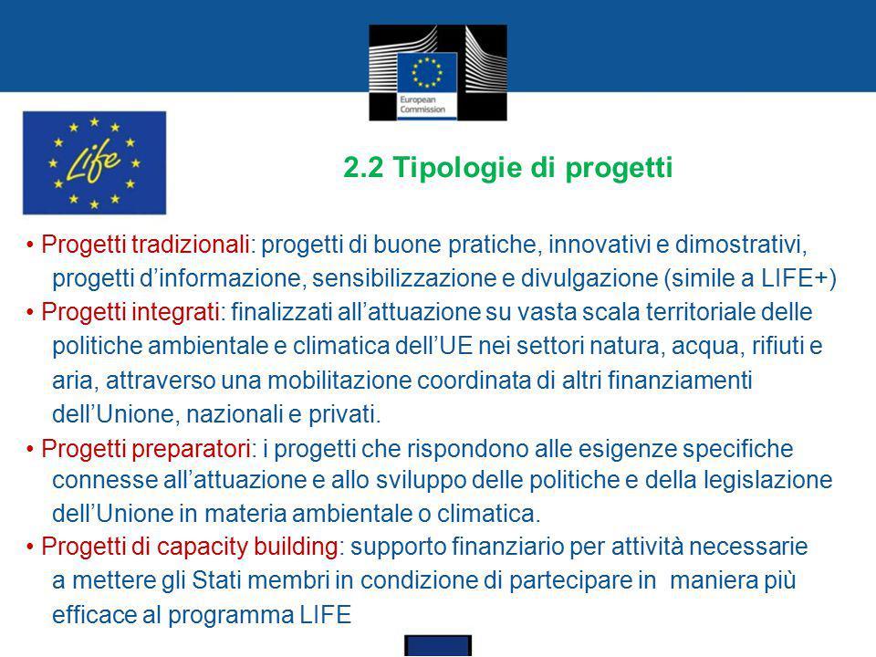 2.2 Tipologie di progetti Progetti tradizionali: progetti di buone pratiche, innovativi e dimostrativi, progetti d'informazione, sensibilizzazione e d