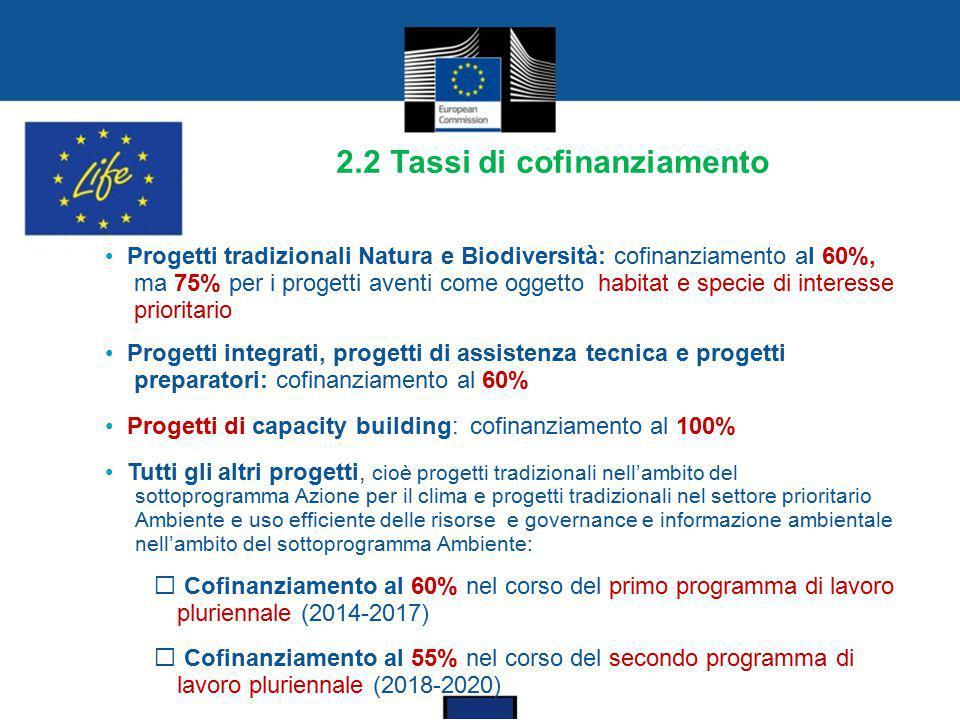 2.2 Tassi di cofinanziamento Progetti tradizionali Natura e Biodiversità: cofinanziamento a l 60%, ma 75% per i progetti aventi come oggetto habitat e