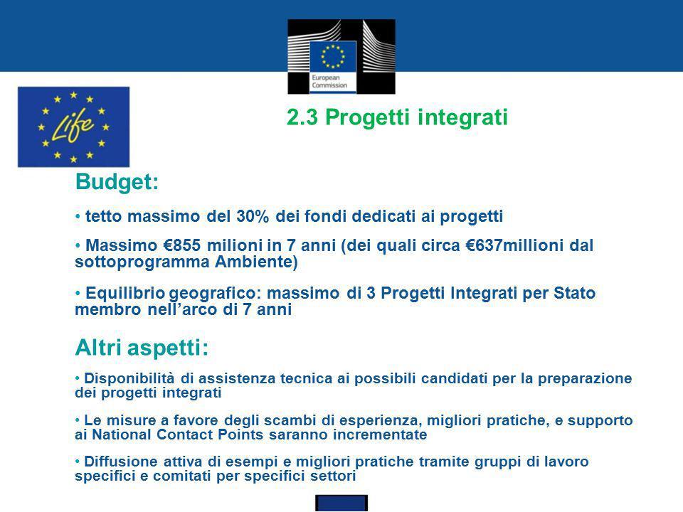2.3 Progetti integrati Budget: tetto massimo del 30% dei fondi dedicati ai progetti Massimo €855 milioni in 7 anni (dei quali circa €637millioni dal s