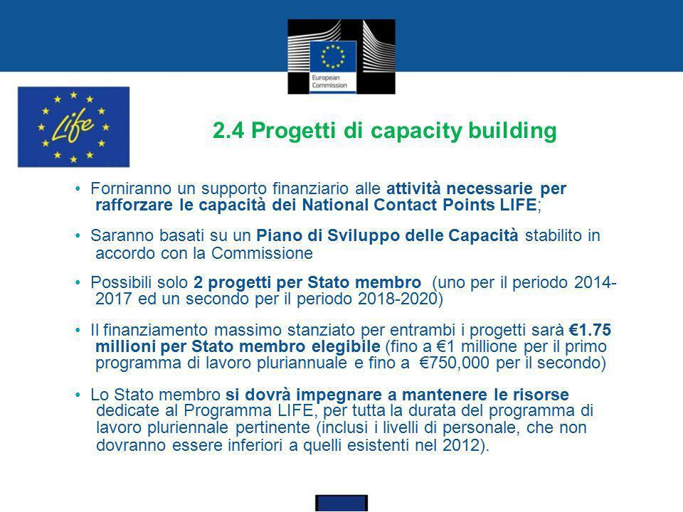 2.4 Progetti di capacity building Forniranno un supporto finanziario alle attività necessarie per rafforzare le capacità dei National Contact Points L